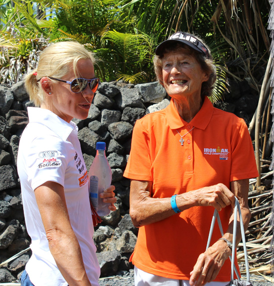 Two Iron superstars: Two-time world champion Mirinda Carfrae and Madonna Buder, the oldest woman ever to finish an Ironman. (Hawaii 24/7 photo by Karin Stanton)