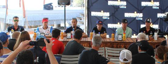 Pro men from left: Tim O'Donnell, Pete Jacobs, Craig Alexander, Sebastien Kienle, Luke McKenzie and Frederik Van Lierde. (Hawaii 24/7 photo by Karin Stanton)