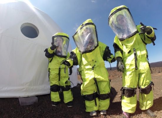 Catherine Cauley, Sage Doreste and Emily Strawn ready for their 'MARS' trip. (Photo courtesy of PISCES)