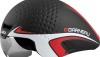 Louis Garneau P-09 aerodynamic bicycle helmet in black, red and white.
