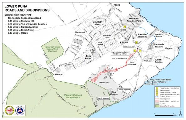 Kilauea June 27 Lava Flow map updated 7 a.m., November 5, 2014. Courtesy of Hawaii County Civil Defense