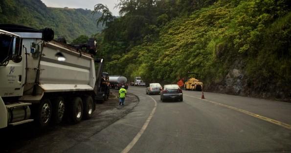 Road work at Laupahoehoe Gulch. Hawaii 24/7 File Photo