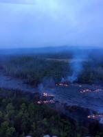 Thursday, November 20, 2014 Hawaii County Civil Defense overflight of the Kilauea June 27th Lava Flow upslope breakout at 6:45 a.m.