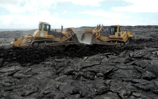 Contractors worked from each end of the 7.8-mile portion of Chain of Craters Road and met in the middle Nov. 5. (Photo courtesy of National Park Service)