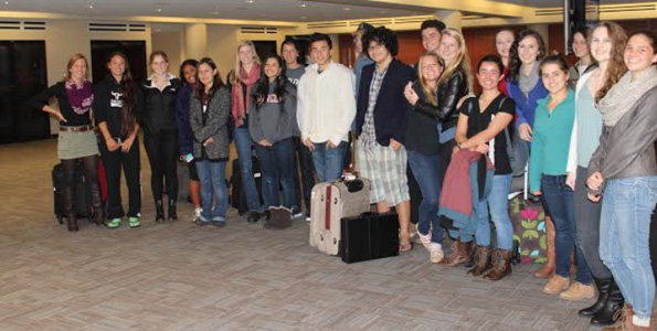 Parker students arrive in Maine and are greeted by their fellow Maine exchange program students. (Photo courtesy of Parker School)
