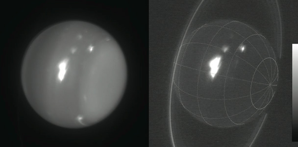 Infrared images of Uranus (1.6 and 2.2 microns) obtained on Aug. 6, 2014, with adaptive optics on the 10-meter Keck II telescope. The white spot is an extremely large storm that was brighter than any feature ever recorded on the planet in the 2.2 micron band. The cloud rotating into view at the lower-right limb grew into the large storm that was seen by amateur astronomers at visible wavelengths. (Image courtesy of Imke de Pater | UC Berkeley and W.M. Keck Observatory Images)