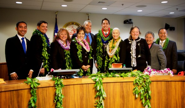 Greggor Ilagan, Danny Paleka, Maile 'Medeiros' David, Valerie T. Poindexter, Billy Kenoi, Dru Mamo Kanuha, Karen Eoff, Margaret Wille, Dennis 'Fresh' Onishi and Aaron Chung. Council members with Mayor Billy Kenoi in the Hilo County Council Chambers. Photography by Baron Sekiya | Hawaii 24/7