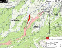 This large-scale map shows the distal part of Kīlauea's active East Rift Zone lava flow in relation to nearby Puna communities. The area of the flow on December 1, 2014, at 11:30 AM is shown in pink, while widening and advancement of the flow as mapped on December 9 at 2:30 PM is shown in red. Most surface flow activity is focused into a narrow lobe that branches off the west edge of the flow field north of the East Rift Zone crack system. The front of this finger (19.487854, -154.983492 Decimal Degrees) was 3.4 km (2.1 mi) upslope from the intersection of Highway 130 and Pahoa Village Road at the Pahoa Marketplace, at an elevation of 275 meters (900 ft). The blue lines show steepest-descent paths calculated from a 1983 digital elevation model (DEM; for calculation details, see http://pubs.usgs.gov/of/2007/1264/). Steepest-descent path analysis is based on the assumption that the DEM perfectly represents the earth's surface. DEMs, however, are not perfect, so the blue lines on this map can be used to infer only approximate flow paths. All older Puʻu ʻŌʻō lava flows (1983–2014) are shown in gray; the yellow line marks the active lava tube.