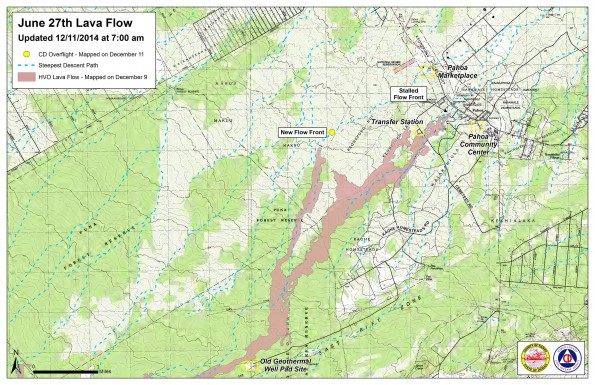 Kilauea June 27 Lava Flow map updated 7 a.m., December 11, 2014. Courtesy of Hawaii County Civil Defense