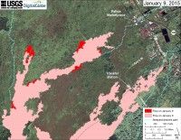 This large-scale map uses a satellite image acquired in March 2014 (provided by Digital Globe) as a base to show the area around the front of Kīlauea's active East Rift Zone lava flow. The area of the flow in the afternoon on January 6 is shown in pink, while widening and advancement of the flow as determined from satellite imagery acquired in the morning on January 9 is shown in red. The blue lines show steepest-descent paths calculated from a 1983 digital elevation model (DEM; for calculation details, see http://pubs.usgs.gov/of/2007/1264/). Steepest-descent path analysis is based on the assumption that the DEM perfectly represents the earth's surface. DEMs, however, are not perfect, so the blue lines on this map can be used to infer only approximate flow paths.