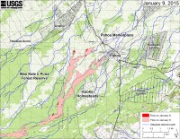This large-scale map shows the distal part of Kīlauea's active East Rift Zone lava flow in relation to nearby Puna communities. The area of the flow in the afternoon on January 6 is shown in pink, while widening and advancement of the flow as determined from satellite imagery acquired in the morning on January 9 is shown in red. The blue lines show steepest-descent paths calculated from a 1983 digital elevation model (DEM; for calculation details, see http://pubs.usgs.gov/of/2007/1264/). Steepest-descent path analysis is based on the assumption that the DEM perfectly represents the earth's surface. DEMs, however, are not perfect, so the blue lines on this map can be used to infer only approximate flow paths. The yellow line marks the active lava tube (the tube continues downslope but has not been mapped).