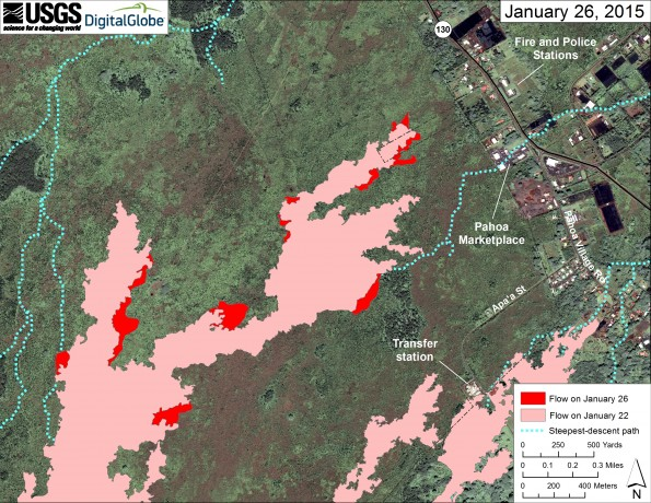 This large-scale map uses a satellite image acquired in March 2014 (provided by Digital Globe) as a base to show the area around the front of Kīlauea's active East Rift Zone lava flow. The area of the flow on January 22 is shown in pink, while widening and advancement of the flow based on satellite imagery acquired today (January 26), is shown in red.  The blue lines show steepest-descent paths calculated from a 1983 digital elevation model (DEM; for calculation details, see http://pubs.usgs.gov/of/2007/1264/). Steepest-descent path analysis is based on the assumption that the DEM perfectly represents the earth's surface. DEMs, however, are not perfect, so the blue lines on this map can be used to infer only approximate flow paths.