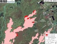 This large-scale map uses a satellite image acquired in March 2014 (provided by Digital Globe) as a base to show the area around the front of Kīlauea's active East Rift Zone lava flow. The area of the flow on January 26 is shown in pink, while widening and advancement of the flow based on today's overflight (January 29), is shown in red. The blue lines show steepest-descent paths calculated from a 1983 digital elevation model (DEM; for calculation details, see http://pubs.usgs.gov/of/2007/1264/). Steepest-descent path analysis is based on the assumption that the DEM perfectly represents the earth's surface. DEMs, however, are not perfect, so the blue lines on this map can be used to infer only approximate flow paths.