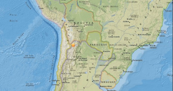 Epicenter of the Wednesday morning earthquake in Argentina. Map courtesy of USGS