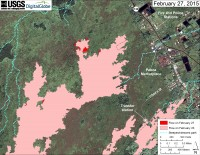 This large-scale map uses a satellite image acquired in March 2014 (provided by Digital Globe) as a base to show the area around the front of Kīlauea's active East Rift Zone lava flow. The area of the flow on February 23 is shown in pink, while widening and advancement of the flow as of February 27 is shown in red. The blue lines show steepest-descent paths calculated from a 1983 digital elevation model (DEM; for calculation details, see http://pubs.usgs.gov/of/2007/1264/). Steepest-descent path analysis is based on the assumption that the DEM perfectly represents the earth's surface. DEMs, however, are not perfect, so the blue lines on this map can be used to infer only approximate flow paths.