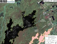 This map overlays a georegistered mosaic of thermal images collected during a helicopter overflight of the distal part of Kīlauea's active East Rift Zone lava flow on February 27 at about 11:40 AM. The base image is a satellite image acquired in March 2014 (provided by Digital Globe). The perimeter of the flow at that time is outlined in yellow. Temperature in the thermal image is displayed as gray-scale values, with the brightest pixels indicating the hottest areas (white areas are active breakouts). The blue lines show steepest-descent paths calculated from a 1983 digital elevation model (DEM; for calculation details, see http://pubs.usgs.gov/of/2007/1264/). Steepest-descent path analysis is based on the assumption that the DEM perfectly represents the earth's surface. DEMs, however, are not perfect, so the blue lines on this map can be used to infer only approximate flow paths.