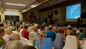 A Kilauea June 27th Lava Flow community meeting at Pahoa High School on September 9 2014 during a presentation by the USGS/Hawaiian Volcano Observatory. Hawaii 24/7 File Photo
