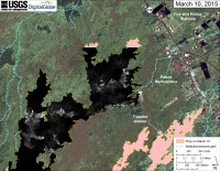 This map overlays a georegistered mosaic of thermal images collected during a helicopter overflight of the distal part of Kīlauea's active East Rift Zone lava flow on March 10 at about 10:35 AM. The base image is a satellite image acquired in March 2014 (provided by Digital Globe). The perimeter of the flow at the time the imagery was acquired is outlined in yellow. Temperature in the thermal image is displayed as gray-scale values, with the brightest pixels indicating the hottest areas (white areas are active breakouts). The blue lines show steepest-descent paths calculated from a 1983 digital elevation model (DEM; for calculation details, see http://pubs.usgs.gov/of/2007/1264/). Steepest-descent path analysis is based on the assumption that the DEM perfectly represents the earth's surface. DEMs, however, are not perfect, so the blue lines on this map can be used to infer only approximate flow paths.