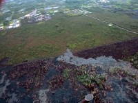 The south margin breakout of the Kilauea June 27th Lava Flow on Thursday, March 12, 2015. This is looking towards Pahoa town. Photo courtesy of Hawaii County Civil Defense