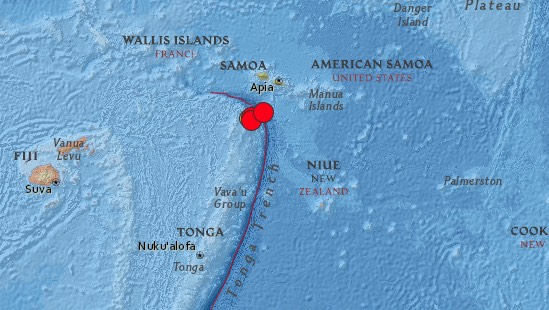 Earthquake epicenters on Sunday (March 29) between Tonga and Samoa.