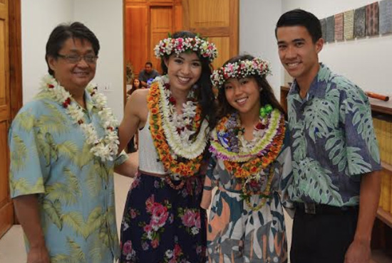 Future Waiakea: Contest organizer Rep. Mark Nakashima and Hawaii Future Caucus member Honolulu Councilman Brandon Elefante with Kiani Nishimoto and Kaydee Rapozo of Waiakea High School. (Photo special to Hawaii 24/7)