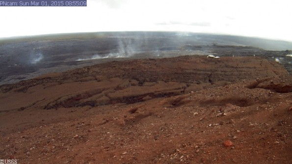 Pu'u 'O'o Crater North Flank from the North Rim. Photo courtesy of USGS/HVO