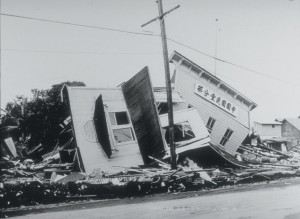 Wreckage of a clubhouse on Kamehameha Avenue in Hilo, Hawai'i, caused by a tsunami generated by the April 1, 1946, earthquake in the Aleutian Islands. Photo courtesy of the U.S. Army Corps of Engineers.
