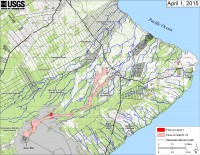 This map shows recent changes to Kīlauea's active East Rift Zone lava flow field. The area of the flow on March 10, before shutting down near Pāhoa, is shown in pink, while widening and advancement of the flow based on satellite imagery from April 1 is shown in red. Some recent changes north of Puʻu ʻŌʻō are not shown, as that part of the flow field was hidden from satellite view by clouds.