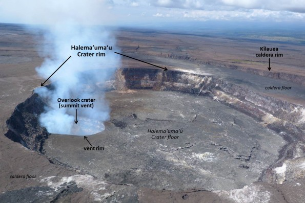 The active vent (Overlook crater) at the summit of Kīlauea Volcano is located within Halemaʻumaʻu, a crater within the volcano's caldera. The lava lake within the summit vent was about 70 m (230 ft) below the vent rim when this aerial photo was taken on March 6, 2015. Hawaiʻi Volcanoes National Park's Jaggar Museum is perched on the Kīlauea caldera rim (out of view to the right). Image courtesy of HVNP