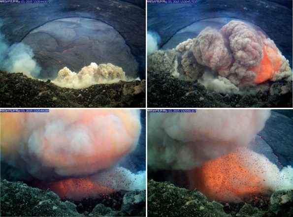 A sequence of still images taken from the webcam positioned at the closed Halemaʻumaʻu overlook, spanning about six seconds. The collapse originated from a portion of the wall directly below the webcam, but just out of view. Large pieces of molten spatter can be seen flying through the air and being deposited on the crater walls below the camera. Photos taken Sunday, May 3, 2015 courtesy of USGS/HVO