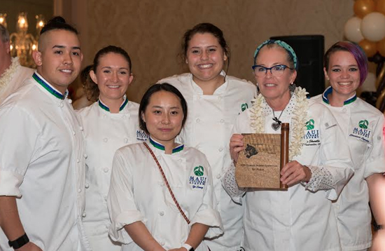UH­Maui College won the morning community college culinary competition led by Chef Instructor Teresa Shurilla (with plaque). Students from left are Devin Galloway, Noelle Bender, Yi Song, Taylor McGraw and Clarissa Logsdon. (Photo courtesy of Shiortini Photography)
