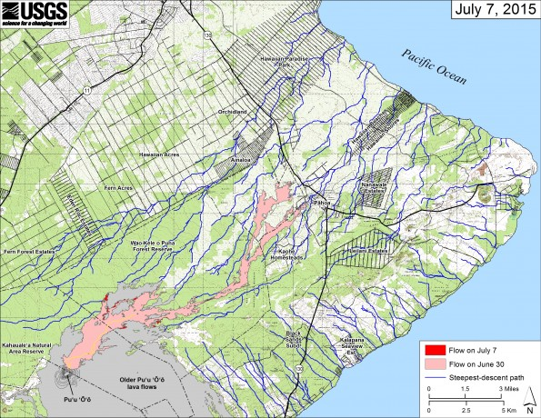 This small-scale map shows Kīlauea's active East Rift Zone lava flow in relation to lower Puna. The area of the flow on June 30 is shown in pink, while widening and advancement of the flow as of July 7 is shown in red.  The blue lines show steepest-descent paths calculated from a 1983 digital elevation model (DEM; for calculation details, see http://pubs.usgs.gov/of/2007/1264/). Steepest-descent path analysis is based on the assumption that the DEM perfectly represents the earth's surface. DEMs, however, are not perfect, so the blue lines on this map can be used to infer only approximate flow paths. Puʻu ʻŌʻō lava flows erupted prior to June 27, 2014, are shown in gray.