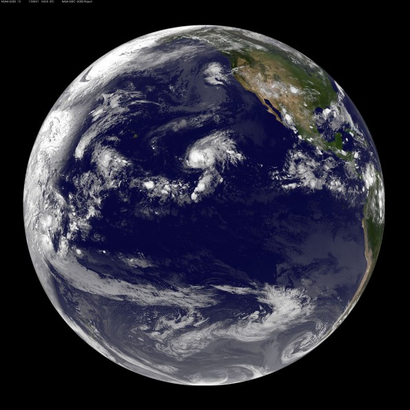 Full earth image taken at 8 p.m. HST Friday, July 31, 2015. Photo courtesy of NOAA-NASA GOES Project