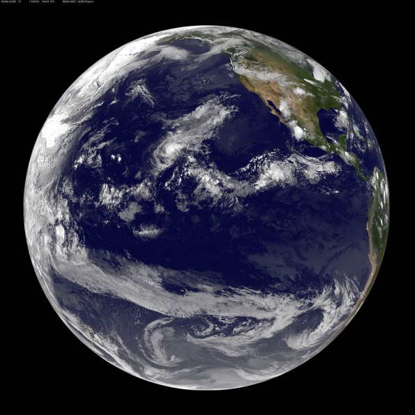 Full earth image taken at 8 p.m. HST Sunday, August 2, 2015. Photo courtesy of NOAA-NASA GOES Project