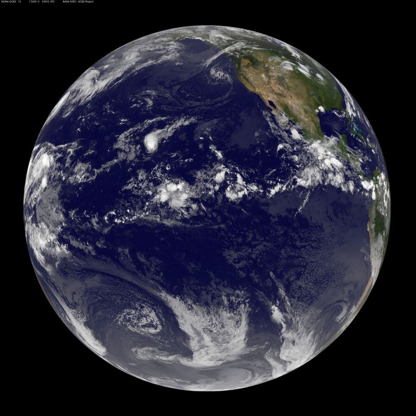 Full earth image taken at 11 p.m. HST Wednesday, August 12, 2015. Photo courtesy of NOAA-NASA GOES Project