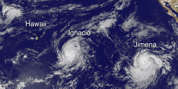 Hawaii, Hurricane Ignacio and Hurricane Jimena in this image taken at 2 p.m. HST Friday, August 28, 2015. Photo courtesy of NOAA-NASA GOES Project
