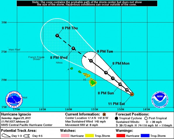 Central Pacific Hurricane Center 11 p.m. HST Saturday, August 29, 2015 Ignacio track update.