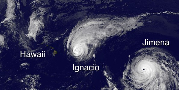 Hawaii, Hurricane Ignacio and Hurricane Jimena in this image taken at 8 p.m. HST Sunday, August 30, 2015. Photo courtesy of NOAA-NASA GOES Project