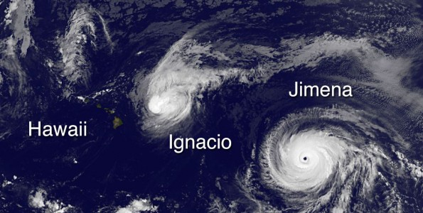 Hawaii, Hurricane Ignacio and Hurricane Jimena in this image taken at 5 a.m. HST Monday, August 31, 2015. Photo courtesy of NOAA-NASA GOES Project