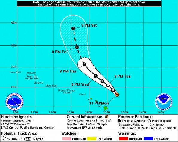Central Pacific Hurricane Center 11 p.m. HST Monday, August 31, 2015 Ignacio track update.