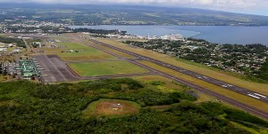 Hilo International Airport (ITO) with runway 8-26 running upper-left to lower-right in the photo. Image taken September 16, 2014. Hawaii 24/7 File Photo
