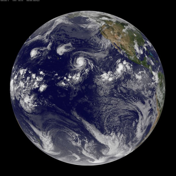 Full earth image taken at 5 a.m. HST Tuesday, September 1, 2015. Photo courtesy of NOAA-NASA GOES Project