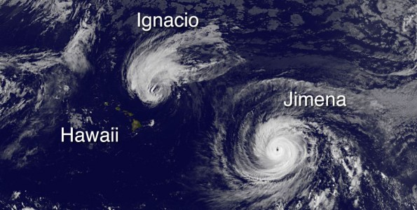 Hawaii, Hurricane Ignacio and Hurricane Jimena in this image taken at 5 a.m. HST Tuesday, September 1, 2015. Photo courtesy of NOAA-NASA GOES Project