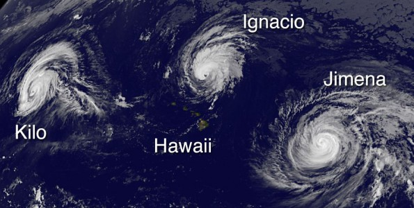 Typhoon Kilo, Hawaii, Tropical Storm Ignacio and Hurricane Jimena in this image taken at 11 p.m. HST Tuesday, September 1, 2015. Photo courtesy of NOAA-NASA GOES Project