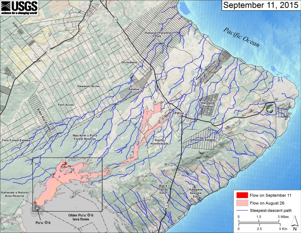 This small-scale map shows Kīlauea's active East Rift Zone lava flow in relation to the eastern part of the Island of Hawaiʻi. The area of the flow on August 26 is shown in pink, while widening and advancement of the flow as of September 11 is shown in red. The yellow lines show the active lava tube system. The black box shows the extent of the accompanying large scale map. The blue lines show steepest-descent paths calculated from a 1983 digital elevation model (DEM; for calculation details, see http://pubs.usgs.gov/of/2007/1264/). Steepest-descent path analysis is based on the assumption that the DEM perfectly represents the earth's surface. DEMs, however, are not perfect, so the blue lines on this map can be used to infer only approximate flow paths. Puʻu ʻŌʻō lava flows erupted prior to June 27, 2014, are shown in gray. The base map is a partly transparent regional land cover map from National Oceanic and Atmospheric Administration (NOAA) Office of Coastal Management draped over the 1983 DEM. The bathymetry is also from NOAA. Because the flow field is changing very little at the moment, mapping of the lava flow is being conducted relatively infrequently. We will return to more frequent mapping if warranted by an increase in activity.