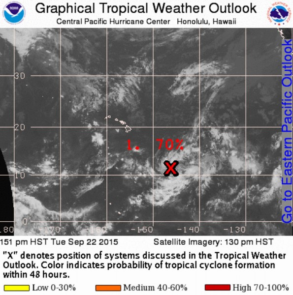 Position of Tropical Disturbance 96-C where the red X is located. Courtesy of NWS