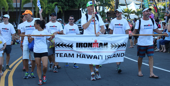 Some of the Big Island's top triathletes march in the Parade of Nations.  (Hawaii 24/7 photo by Karin Stanton)