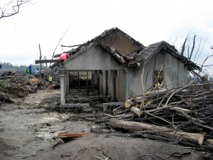 A house destroyed by the pyroclastic flows that occurred during the 2010 Eruptions of Mount Merapi. Located in Cangkringan, Sleman, Daerah Istimewa Yogyakarta, Indonesia. Photo by Crisco 1492