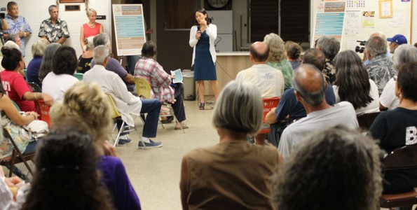 Dr. Sarah Park, state epidemiologist and chief of Disease Outbreak Control Division, talks about dengue fever at the Monday, Nov. 9 community meeting in Captain Cook.