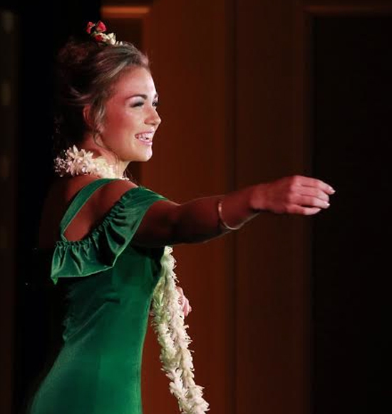 Miss Kona Coffee 2016 Polanimakamae Kahakalau performed a hula dedicated to her grandparents. (Hawaii 24/7 photo by Soleil Fitz-Gerald)